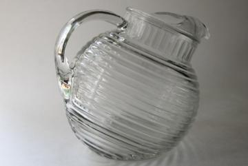 Anchor Hocking Manhattan crystal clear glass large pitcher, round ball tilt jug shape