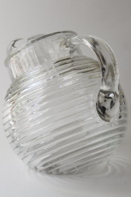 Anchor Hocking Manhattan crystal clear glass small pitcher, round ball tilt jug shape