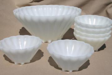 Anchor Hocking Rachel pattern vintage milk glass star shape bowls & large salad bowl