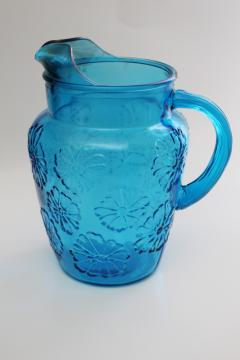 Anchor Hocking Springflower laser blue glass pitcher, embossed daisy flower pattern