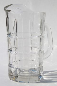 Anchor Hocking Tartan crystal clear glass pitcher, new old stock unused