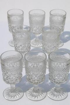 Anchor Hocking Wexford waffle pattern glass water glasses, large goblets