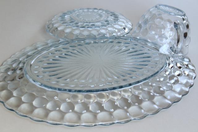 bubble pattern saucers Vintage anchor hocking Sapphire Blue