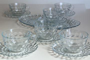 Anchor Hocking bubble pattern sapphire blue depression glass, vintage cups & saucers and tray
