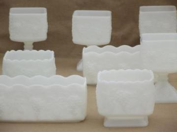 Anchor Hocking grapes pattern milk glass, vintage vases & planters lot