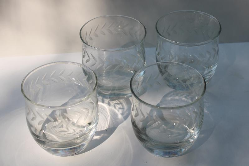 Anchor Hocking laurel etch wheel cut glass on the rocks lowball drinking glasses
