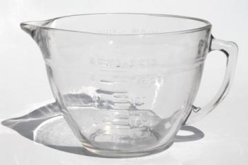 Anchor Hocking microwave safe clear glass measuring pitcher, spouted batter bowl