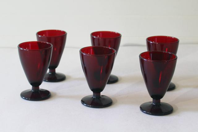 Anchor Hocking vintage royal ruby red glass wine glasses, footed tumblers set of 6
