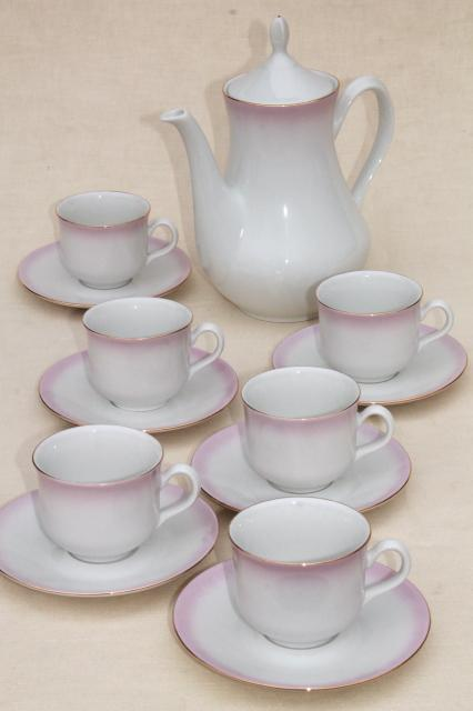 Angelika pink ombre luster china coffee pot, cups & saucers set - Thun Czechoslovakia