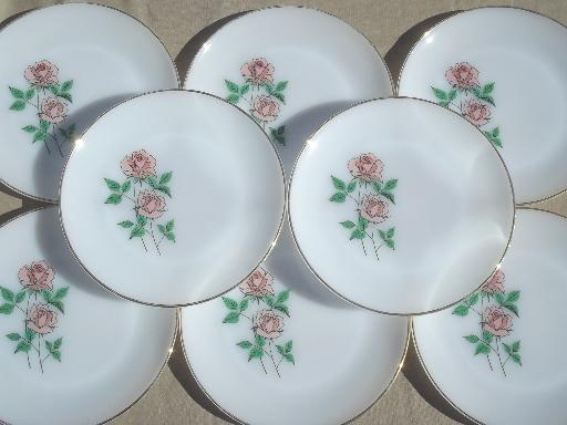 Anniversary Rose pattern 60s vintage Fire King glass dinner plates set