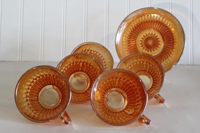Anniversary pattern iridescent carnival glass cups and saucers marigold orange luster