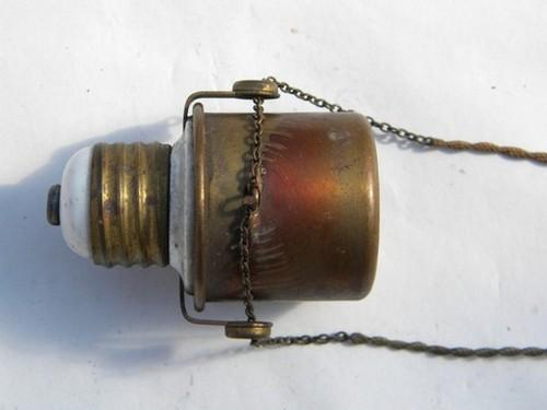 Antique brass early electric lamp light dimmer socket, 1908 patent