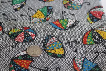 April showers calico umbrellas print cotton fabric, quilting weight material