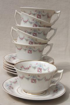 Arcadia Old Ivory Syracuse china, pink & blue floral garland vintage tea cups & saucers