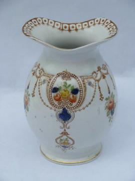 Arcadia polychrome transferware china, antique toothbrush jar vase