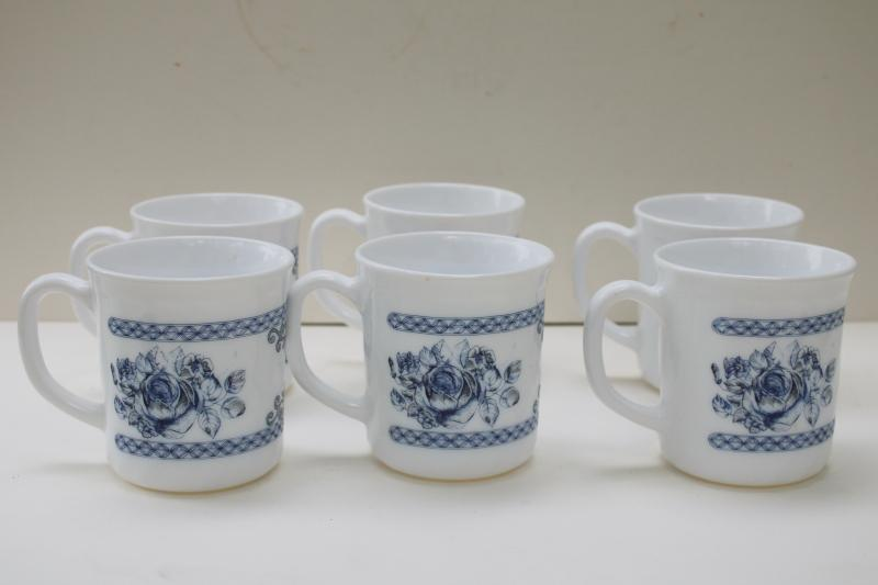 Arcopal Honorine pattern mugs or coffee cups, French blue & white toile Arcoroc glassware
