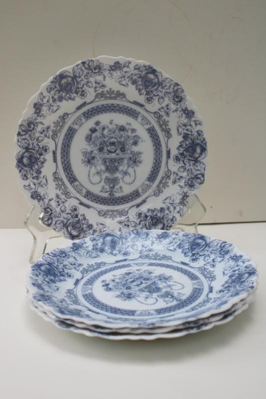 Arcopal Honorine pattern salad plates, French blue & white toile Arcoroc glassware
