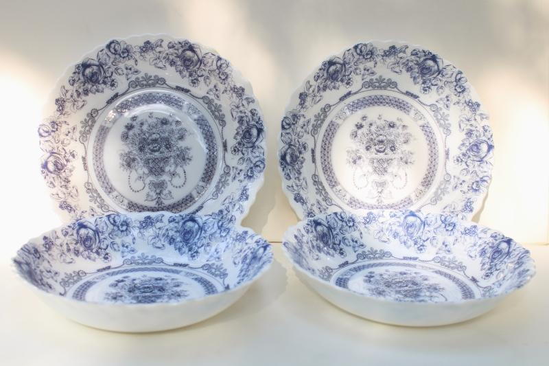 Arcopal Honorine pattern soup plates, French blue & white toile Arcoroc glassware
