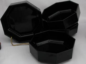 Arcoroc - France, vintage black glass bowls, Octime