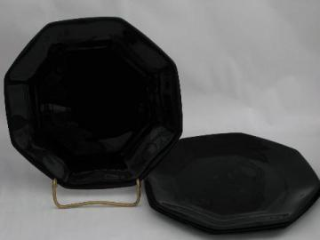 Arcoroc - France, vintage black glass salad plates, Octime