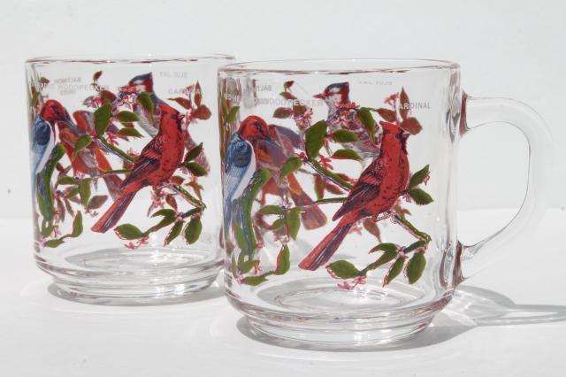 Arcoroc Glass Coffee Cups Pair Of Vintage Song Bird Print