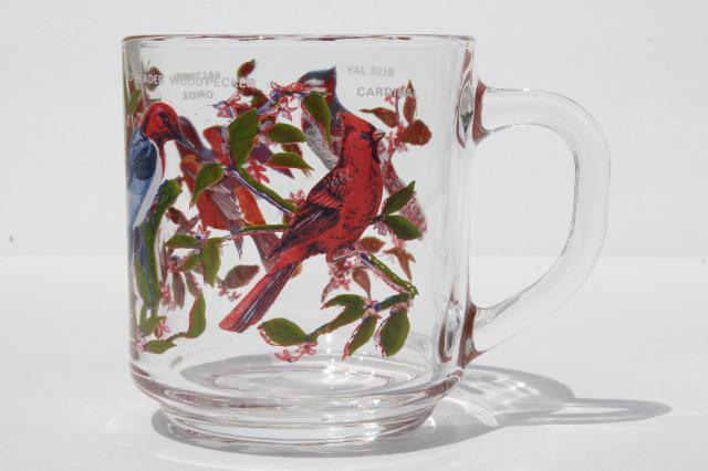 Arcoroc glass coffee cups, pair of vintage song bird print mugs