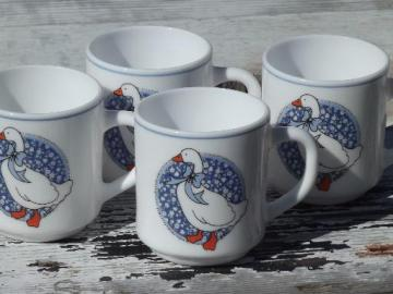 Arcoroc glass coffee mugs, blue calico goose set of 4 80s retro cups