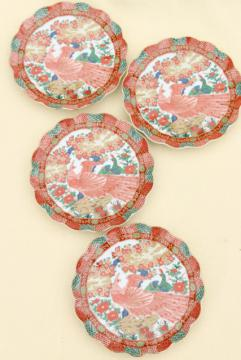 Arita Imari porcelain peacock red & green fluted plates set, vintage Japan