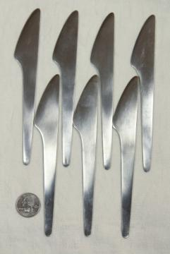 Arne Jacobsen Michelsen stainless steel butter knives, mod design vintage flatware