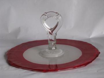 Art Deco vintage cake or sandwich plate w/ handle, red & white octagon elegant glass