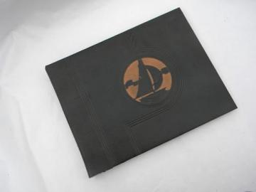 Art Deco vintage photograph or scrapbook album w/embossed sailboat cover