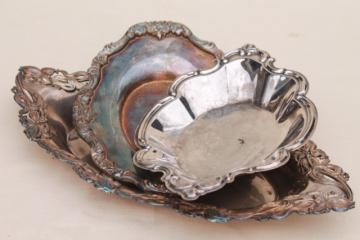 Art Nouveau style repousse silver, antique & vintage silver plate trays & serving dishes