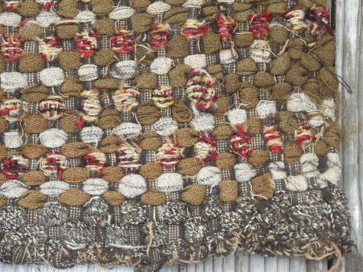 Arts & Crafts era hand woven wool rag rug table mat, vintage 20s - 30s