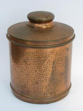 Arts & Crafts hammered copper, vintage cigar humidor