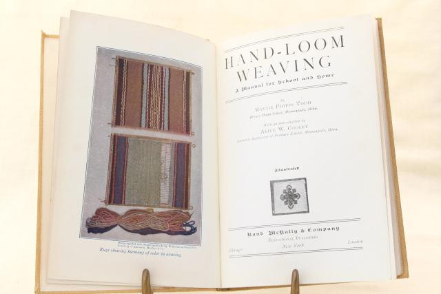 Arts & Crafts hand loom weaving, Indian rug  techniques early 1900s vintage book