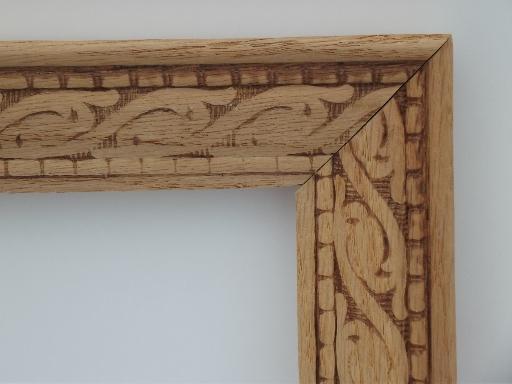 Arts & Crafts vintage carved oak picture frame, natural unfinished wood