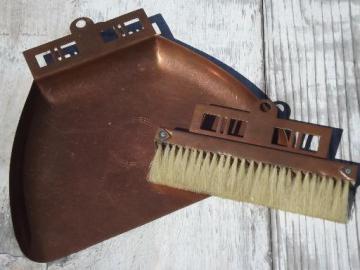 Arts & Crafts vintage copper silent butler crumb pan sweeper brush set