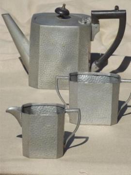 Arts & Crafts vintage hammered pewter tea set, antique English pewter
