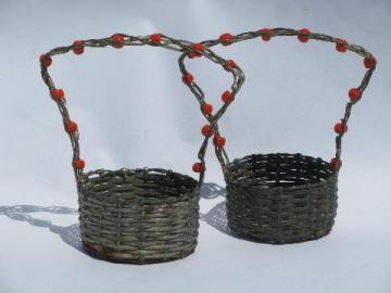 Arts & Crafts vintage handcrafted wirework baskets w/ Indian beads