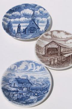 Atlantic Canada scenes transferware china mini plates, Wood & Sons Staffordshire