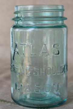 Atlas Strong Shoulder Mason jar, pint size antique aqua blue glass canning jar