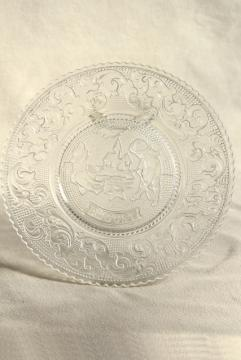 August birthday month sandwich pattern pressed glass plate, vintage Tiara / Indiana