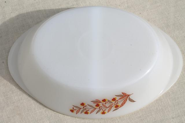 Autumn Leaf vintage Glasbake oven proof glass oval casserole dish, divided bowl