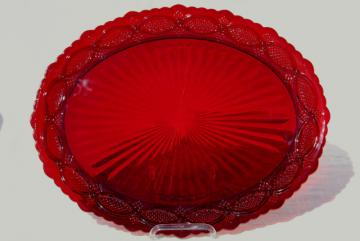 Avon Cape Cod ruby red glass platter, vintage Cape Cod pattern glass