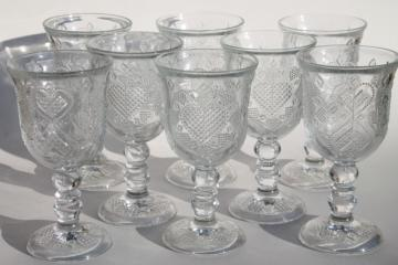 Avon Fostoria heart & diamond crystal clear glass water glasses / large wine goblets
