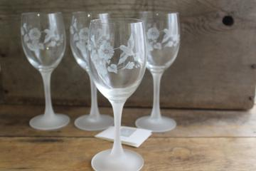 Avon Hummingbird etched crystal wine glasses w/ frosted stems, made in France 80s 90s vintage