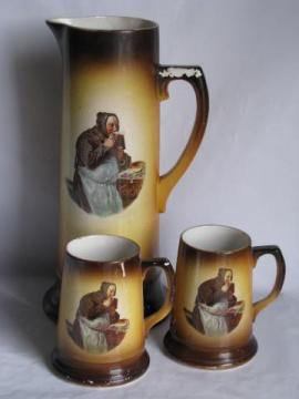 Avon Ware - England vintage pottery, ironstone tall pitcher & beer steins w/ friar
