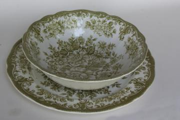 Avondale green transferware china vintage serving bowl & plate, J & G Meakin England