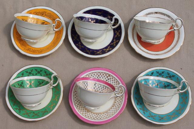 Aynsley English Bone China Teacups Saucers W Colored Bands 6