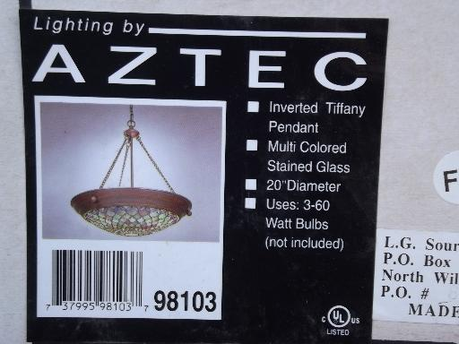 Aztec Tiffany stained glass hanging light, bronze and green chandelier